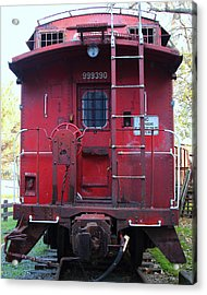Red Sante Fe Caboose Train . 7d10476 Acrylic Print by Wingsdomain Art and Photography