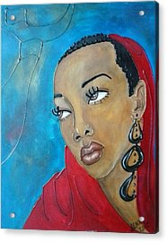 Red Scarf Acrylic Print by Jenny Pickens