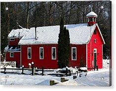 Red Schoolhouse At Christmas Acrylic Print