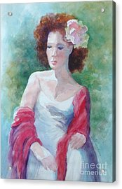 Red Shawl Acrylic Print by Marilyn Jacobson