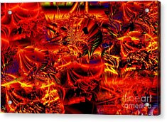 Red Shred Acrylic Print by Ron Bissett