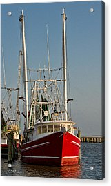 Red Shrimp Boat Acrylic Print by Christopher Holmes