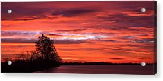 Red Sky At Morning Pano Acrylic Print by James Barber