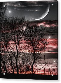 Red Sky Moon Acrylic Print by Marianna Mills