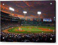 Red Sky Over Fenway Park Acrylic Print