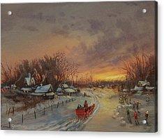 Red Sleigh Acrylic Print by Tom Shropshire