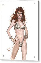 Red Sonja Pinup Acrylic Print by Will Brown