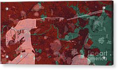Red Sox Baseball Player On Boston Harbor Map Acrylic Print by Pablo Franchi