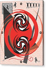 Red Spirals Acrylic Print