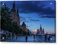 Red Square At Dusk Acrylic Print