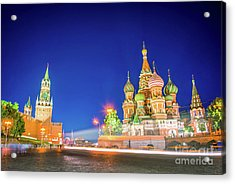 Red Square At Night Acrylic Print