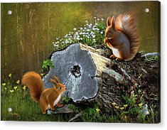 Acrylic Print featuring the digital art Red Squirrels by Thanh Thuy Nguyen