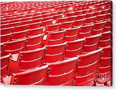 Red Stadium Seats Acrylic Print by Paul Velgos