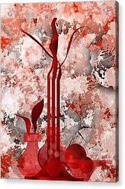 Red Stain Still Life Acrylic Print