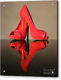 Red Stiletto Shoes Acrylic Print by Terri Waters