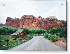 Red Stone Mountain  Acrylic Print by Happy Home Artistry