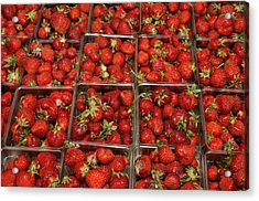 Union Square Market Red Strawberries Acrylic Print by Diane Lent