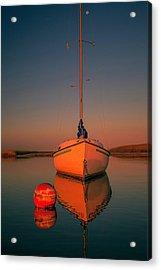 Red Sunrise Reflections On Sailboat Acrylic Print by Dapixara Art