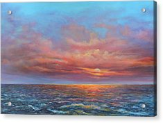 Red Sunset At Sea Acrylic Print