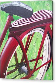 Red Super Cruiser Bicycle Acrylic Print by Charlene Cloutier