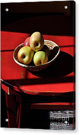 Red Table Apple Still Life Acrylic Print