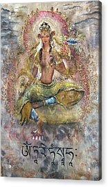 Red Tara Or Kurukulla  Acrylic Print by Silk Alchemy