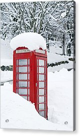 Red Telephone Box In Heavy Snow Acrylic Print by Duncan Shaw