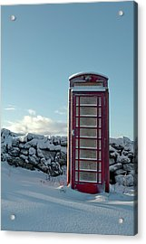 Red Telephone Box In The Snow IIi Acrylic Print
