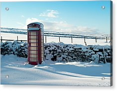 Red Telephone Box In The Snow V Acrylic Print