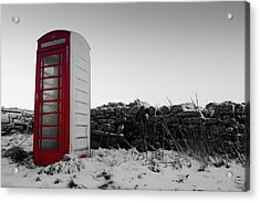 Red Telephone Box In The Snow Vi Acrylic Print