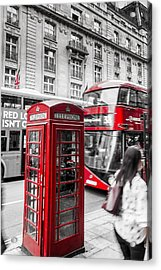 Red Telephone Box With Red Bus In London Acrylic Print