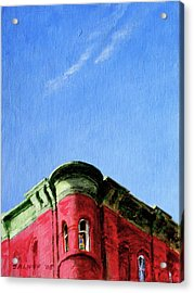 Red Tenement Acrylic Print by Peter Salwen