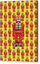 Red Tin Toy Robot Pattern Acrylic Print by YoPedro