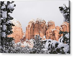 Red Towers Under Snow Acrylic Print