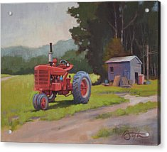 Red Tractor Acrylic Print by Todd Baxter