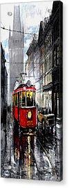 Red Tram Acrylic Print by Yuriy  Shevchuk