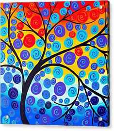 Red Tree Of Life Acrylic Print by Cathy Jacobs