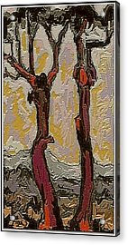 Red Trees Rt2 Acrylic Print by Pemaro