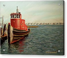 Red Tugboat Acrylic Print by Joan Swanson