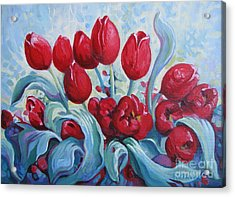 Acrylic Print featuring the painting Red Tulips by Elena Oleniuc