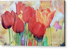 Watercolor Of Blooming Red Tulips In Spring Acrylic Print