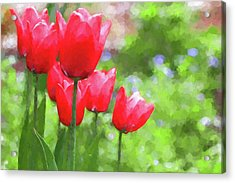 Acrylic Print featuring the photograph Red Tulips In The Spring Garden by Jennie Marie Schell