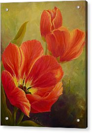 Red Tulips Acrylic Print by Irene Hurdle