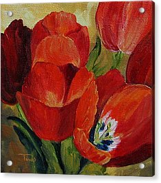 Red Tulips  Acrylic Print by Torrie Smiley