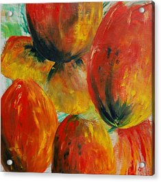 Red Tulips Acrylic Print by Veronique Radelet