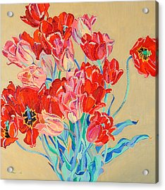 Red Tulips With Gold Background Acrylic Print by Vitali Komarov