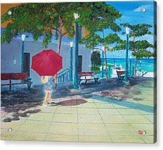 Red Umbrella In San Juan Acrylic Print by Tony Rodriguez
