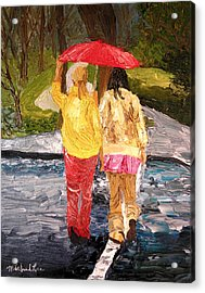 Red Umbrella Acrylic Print by Michael Lee