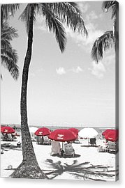 Red Umbrellas On Waikiki Beach Hawaii Acrylic Print by Kerri Ligatich