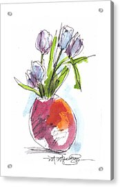 Red Vase With Tulips Acrylic Print
